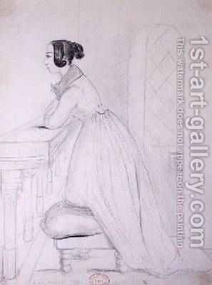 George Sand 1804-76 kneeling on a pouffe and with her elbows on a balustrade 1833 by Alfred de Musset - Reproduction Oil Painting