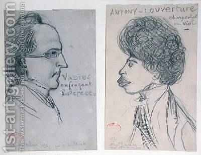 Portraits of either Charles Nodier 1780-1844 or Gustave Planche 1808-57 and Alexandre Dumas Pere 1802-70 1834 by Alfred de Musset - Reproduction Oil Painting