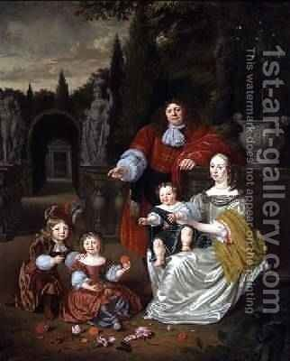 A Family Group on a Terrace 1670 by Michiel van Musscher - Reproduction Oil Painting