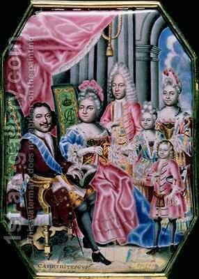 The Family of Emperor Peter I the Great 1672-1725 1717 by Grigory Semyonovich Musikiysky - Reproduction Oil Painting