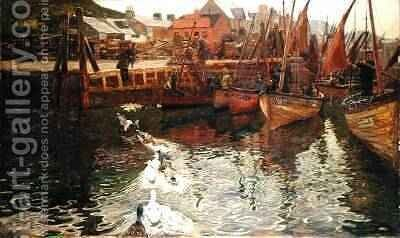 Tarbert Harbour 1878 by David Murray - Reproduction Oil Painting