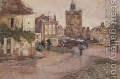 Market Day at Genilly France by David Murray - Reproduction Oil Painting