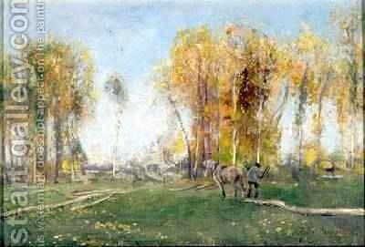Woodsman and Horse in an Autumn Landscape 1886 by David Murray - Reproduction Oil Painting