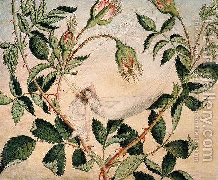 A fairy resting in a hammock spun from cobweb 1827-29 by Amelia Jane Murray - Reproduction Oil Painting