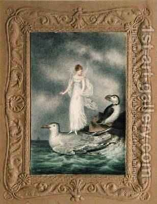 A fairy standing on the back of a guillmot watched by a puffin 1817-29 by Amelia Jane Murray - Reproduction Oil Painting
