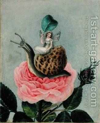 A fairy holding a leaf sitting on a snail above a rose 1817-29 by Amelia Jane Murray - Reproduction Oil Painting