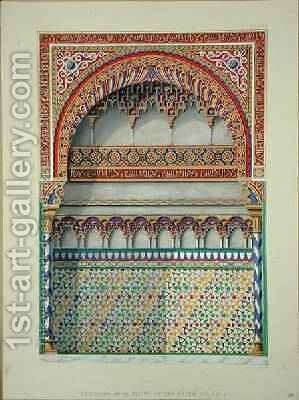 Elevation of an alcove in the Pateo del Agua Alhambra from The Arabian Antiquities of Spain by (after) Murphy, James Cavanagh - Reproduction Oil Painting