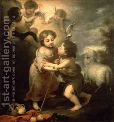 The Infants Christ and John the Baptist by (after) Murillo, Bartolome Esteban - Reproduction Oil Painting