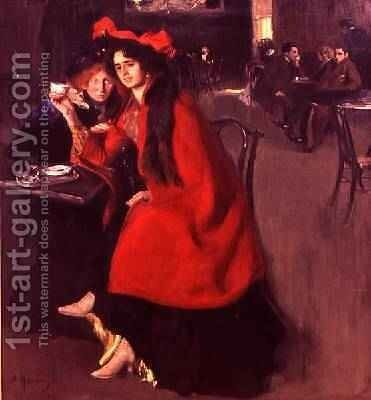 In a Cafe 1902 by A. A. Murashko - Reproduction Oil Painting