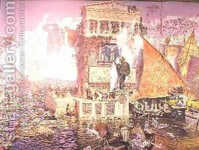The Colossus of Rhodes by Antonio Munoz Degrain - Reproduction Oil Painting