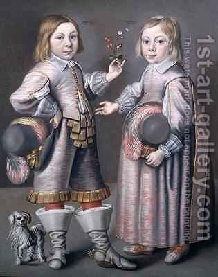 A Portrait of Two Children by Hendrick Munnichoven - Reproduction Oil Painting