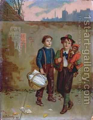 Beggars and a Monkey 1893 by Augustus Edward Mulready - Reproduction Oil Painting