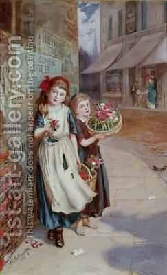 Little Flower Sellers 1887 by Augustus Edward Mulready - Reproduction Oil Painting