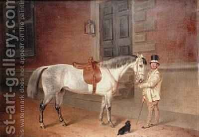 Lady Rosamunds Mare with Head Groom at Tredegar House Newport 1851 by James Flewitt Mullock - Reproduction Oil Painting