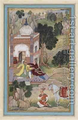 Two Men Fighting Mughal 1587 by (attr. to) Mukunda - Reproduction Oil Painting