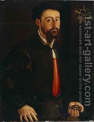 Portrait of a Goldsmith or Jeweller 1551 by Hans Muelich or Mielich - Reproduction Oil Painting