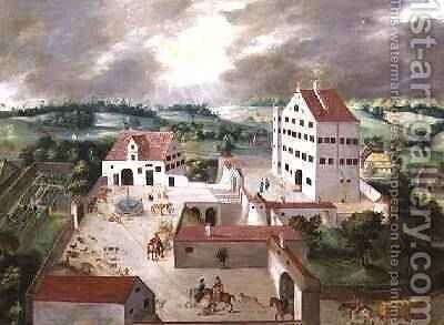 Prospect of a Manor House and its Grounds by Anton Mozart - Reproduction Oil Painting