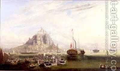 The Departure of Queen Victoria and Prince Albert from St Michaels Mount 1846 by J.G. Moyle - Reproduction Oil Painting