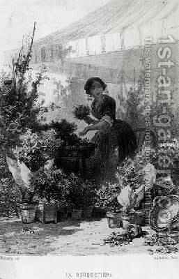 The Flower Seller mid 19th century by Adolphe Mouilleron - Reproduction Oil Painting