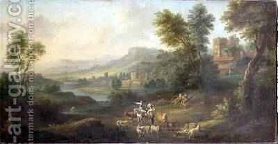 Drovers and Shepherdesses in an Idyllic Pastoral Landscape by Isaac de Moucheron - Reproduction Oil Painting