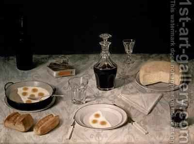 Still Life with Eggs Bread Cheese and Wine by Agostino Jose da Mota - Reproduction Oil Painting