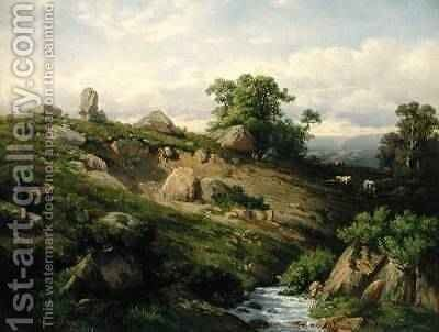 Valley Slope with Rock Fall 1861 by Adolf Mosengel - Reproduction Oil Painting