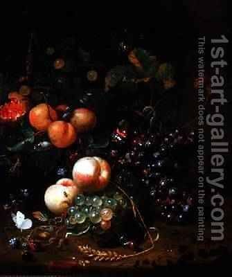 Still Life with Fruit and Flowers by Jan Mortel - Reproduction Oil Painting