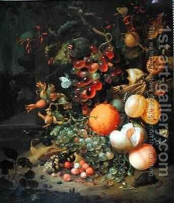 Still Life with Fruit 1704 by Jan Mortel - Reproduction Oil Painting