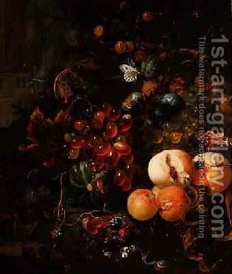 Still Life of Fruit and Insects by Jan Mortel - Reproduction Oil Painting