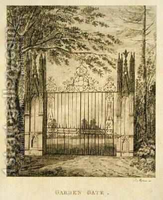 Garden Gate at Strawberry Hill by J. Morris - Reproduction Oil Painting