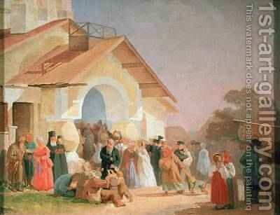 Coming out of a Church in Pskov 1863-64 by Aleksandr Ivanovich Morozov - Reproduction Oil Painting