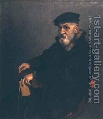 Portrait of an old man with a book possibly Giovan Battista Seradobati an Italian notary post 1575 by Giovanni Battista Moroni - Reproduction Oil Painting