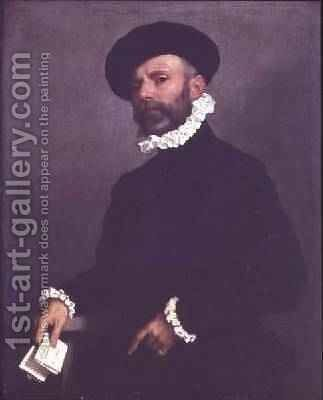 Portrait of a Man holding a Letter 1570-75 by Giovanni Battista Moroni - Reproduction Oil Painting