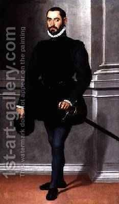 Portrait of a Bearded Man in Black 1576 by Giovanni Battista Moroni - Reproduction Oil Painting