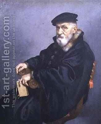 Portrait of an old man by Giovanni Battista Moroni - Reproduction Oil Painting