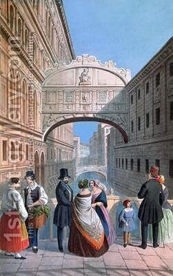 The Bridge of Sighs Venice by (after) Moro, Marco - Reproduction Oil Painting