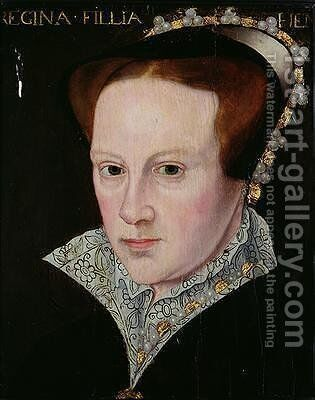 Portrait of Mary I 1516-58 by (attr. to) Moro, Antonio - Reproduction Oil Painting