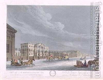 View of the Imperial Bank and the Shops at St Petersburg by (after) Mornay - Reproduction Oil Painting