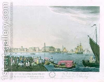 View of the Neva the Harbour and the Exchange at St Petersburg by (after) Mornay - Reproduction Oil Painting