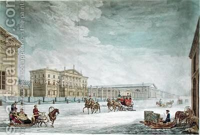 View of the Imperial Bank and the Shops at St Petersburg 2 by (after) Mornay - Reproduction Oil Painting