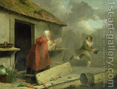 Old Woman Waving a Stick at a Boy 1793 by George Morland - Reproduction Oil Painting
