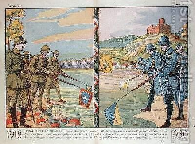 Hello and Goodbye the Rhine illustration from Le Pelerin 1930 by A. R. Moritz - Reproduction Oil Painting