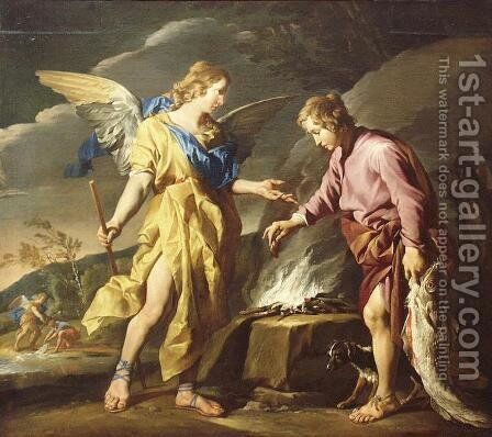 Tobias and the angel 1630-1632 by Matthias Stomer - Reproduction Oil Painting