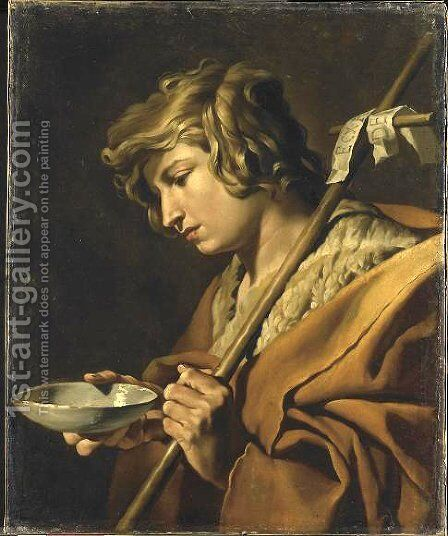 Johannes de Doper attributed to 1630-1650 by Matthias Stomer - Reproduction Oil Painting