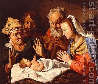 Adoration of the Christ Child 1630ca by Matthias Stomer - Reproduction Oil Painting