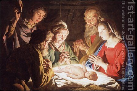 1635-40 The Adoration of the Shepherds by Matthias Stomer - Reproduction Oil Painting