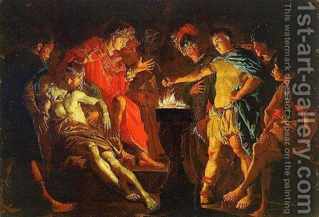 Mucius Scaevola in the presence of Lars Porsenna 1640-1645 by Matthias Stomer - Reproduction Oil Painting