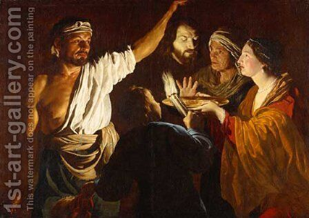 1640 before Salome receiving the Head of John the Baptist by Matthias Stomer - Reproduction Oil Painting