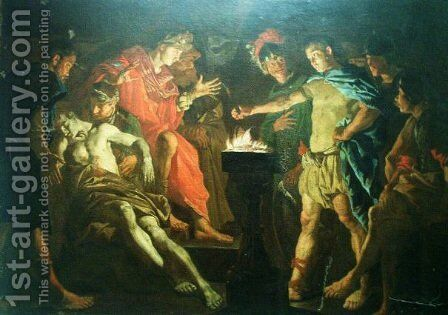Muzio Scevola in front of Porsenna by Matthias Stomer - Reproduction Oil Painting