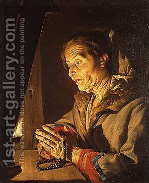 Old Woman Praying by Matthias Stomer - Reproduction Oil Painting